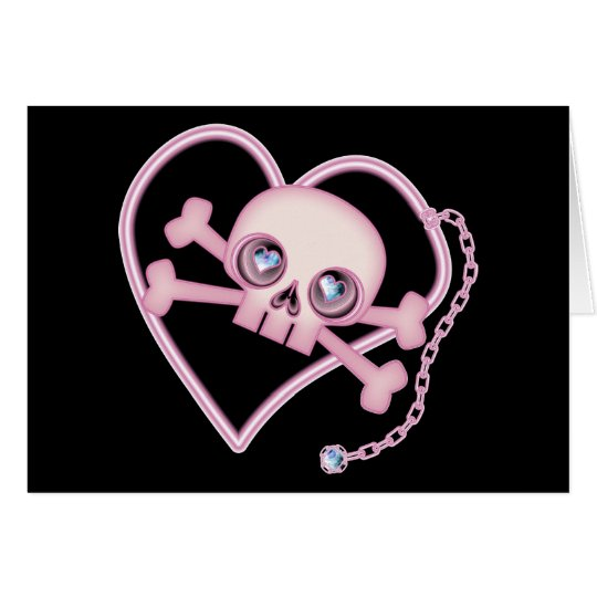 Pink Neon Skull Card