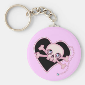 Pink Neon Skull Keychain
