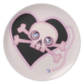 Pink Neon Skull Melamine Plate