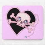 Pink Neon Skull Mousepads