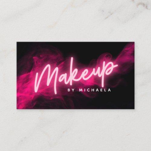 Pink Neon  Smoke Makeup Artist Business Card