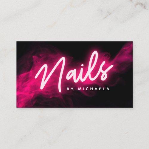 Pink Neon  Smoke Nail SalonTechnician Business Card
