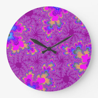 Pink Neon Speckle Large Round Wall Clock