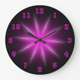 "Pink Neon Star 10.75"" Large Clock"