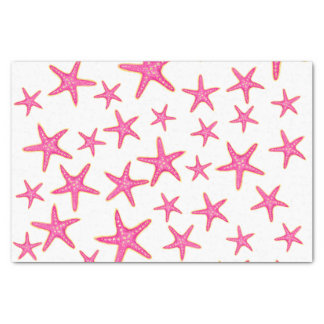 Pink neon watercolor gold starfish pattern tissue paper