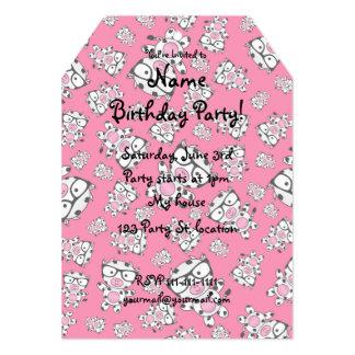 Pink nerd cow pattern 5x7 paper invitation card