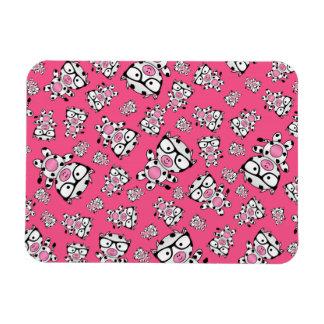 Pink nerd cow pattern vinyl magnet