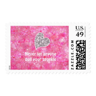 Pink Never let anyone dull your sparkle Quote Postage