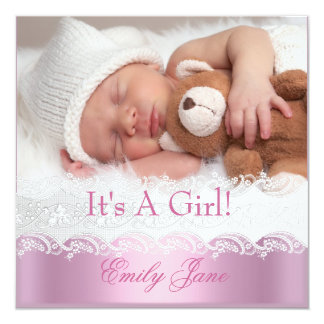 Pink New Baby Girl Anouncement Photo Card