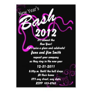 pink new years bash invitation