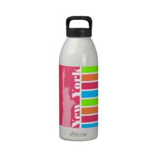 Pink New York; Retro Neon Rainbow Water Bottles