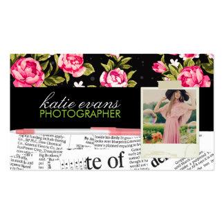 Pink Newspaper Photo Business Card