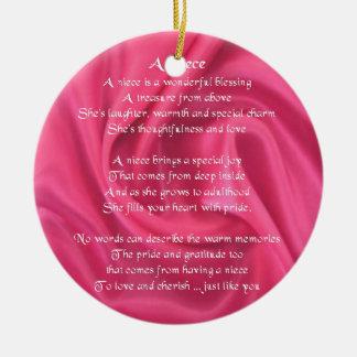 Pink - Niece Poem Ceramic Ornament