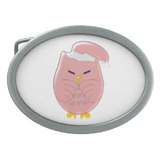 Pink Night Owl Oval Belt Buckles