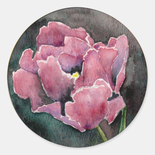 Pink NIght Tulip Envelope Wedding Seal Classic Round Sticker