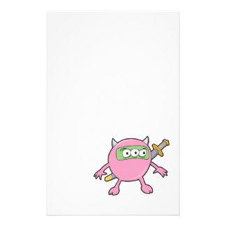 pink ninja monster customized stationery