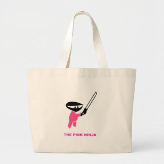 Pink Ninja with Sword Large Tote Bag