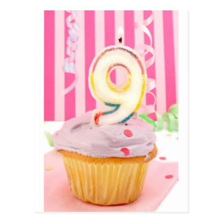 Pink ninth birthday cupcake with candles postcard