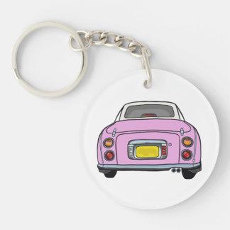 Pink Nissan Figaro Acrylic Keyring Single-Sided Round Acrylic Keychain
