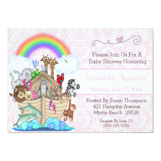 Pink Noah's Ark Baby Shower Invitation