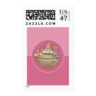Pink Noah's Ark Stamp