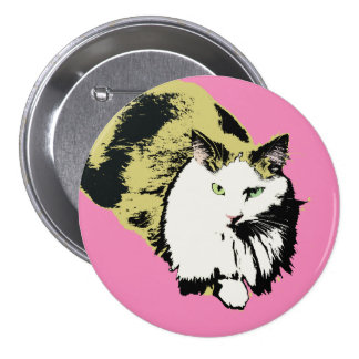 Pink nose fluffy mane cat button