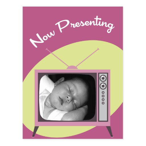Pink Now Presenting Your New Baby Announcements Postcard