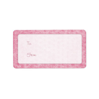 Pink Nubby Chenille Fabric Texture Label