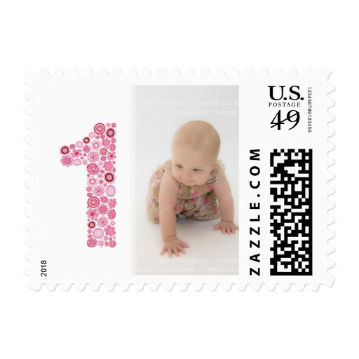 Pink Number 1 1st Birthday Party Postage Stamp