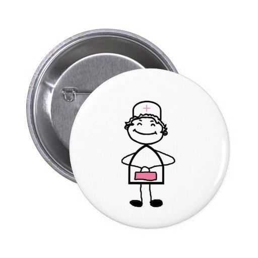 pink nurse pinback button