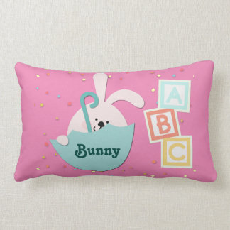 """Pink Nursery Pillow with Bunny and """"ABC Blocks"""""""