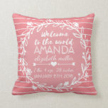 "Pink Nursery Wreath Stripe Baby Girl Birth Stats Throw Pillow<br><div class=""desc"">Decorative throw pillow for baby nursery throw pillow in our pink and white stripe typography baby birth stat wreath design. Customize this pillow with baby girl&#39;s name, weight, length, and birth date. Template is customizable just by typing in your new lines of text. If you&#39;d like to keep the design...</div>"
