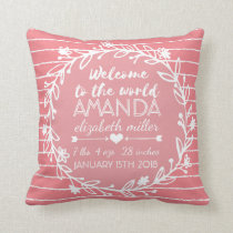 Pink Nursery Wreath Stripe Baby Girl Birth Stats Throw Pillow