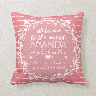 Pink Nursery Wreath Stripe Baby Girl Birth Stats Throw Pillow
