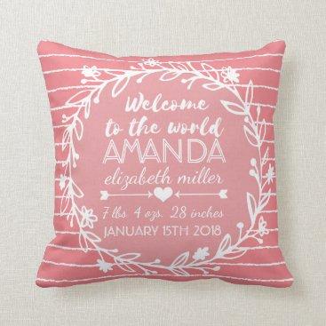 PrettyPillows Pink Nursery Wreath Stripe Baby Girl Birth Stats Throw Pillow