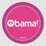 Pink Obama for Peace Sticker