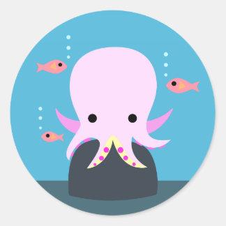 Pink Octopus & 3 Fish Classic Round Sticker