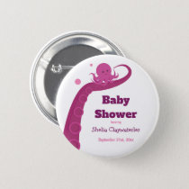 Pink Octopus | Baby shower button