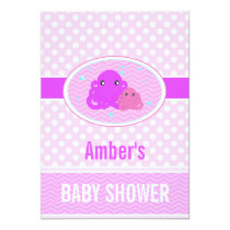 Pink Octopus Baby Shower Invitation