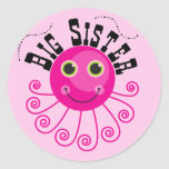 Pink Octopus Big Sister T-shirts and Gifts Round Sticker