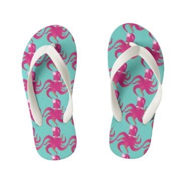 Beach Themed Pink octopus kid's flip flops