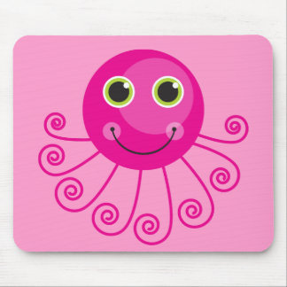 Pink Octopus Mouse Pads