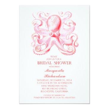 Beach Themed pink octopus nautical beach bridal shower card