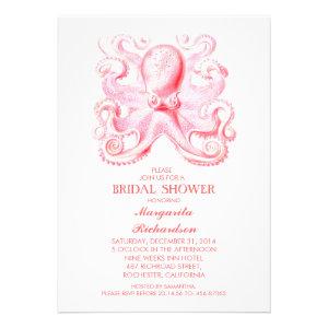 pink octopus nautical beach bridal shower custom invites
