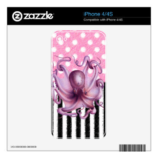 PINK OCTOPUS pattern Decal For The iPhone 4S