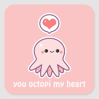 Pink Octopus Square Sticker