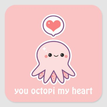 Valentines Themed Pink Octopus Square Sticker