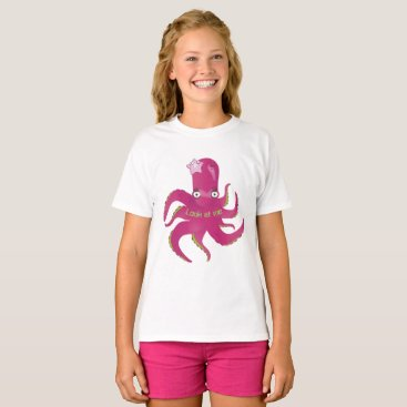 Beach Themed Pink octopus T-Shirt