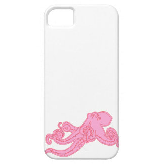 Pink octopus vintage kawaii nautical drawing iPhone 5 cases