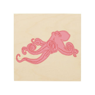 Pink octopus vintage kraken nautical pink cute wood print